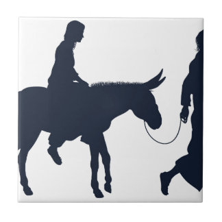 Mary and Joseph Christian Illustration Silhouettes Tile