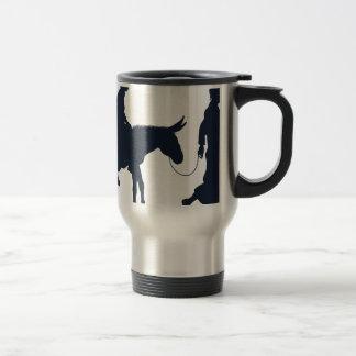 Mary and Joseph Christian Illustration Silhouettes Travel Mug
