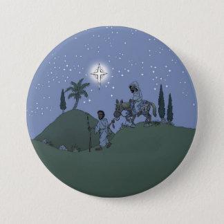 Mary and Joseph, Christmas card. 7.5 Cm Round Badge