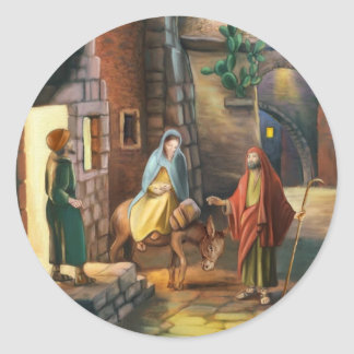 Mary and Joseph with a donkey on Christmas Eve Classic Round Sticker
