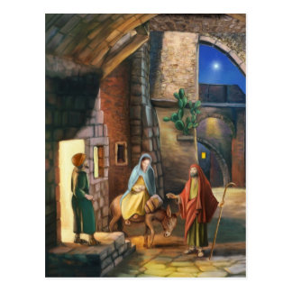 Mary and Joseph with a donkey on Christmas Eve Postcard