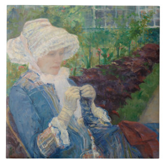 Mary Cassat- Lydia Crocheting in the Garden Large Square Tile