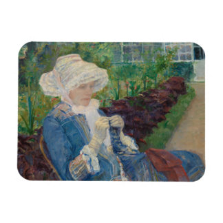 Mary Cassat- Lydia Crocheting in the Garden Magnet