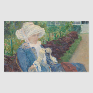 Mary Cassat- Lydia Crocheting in the Garden Rectangular Sticker