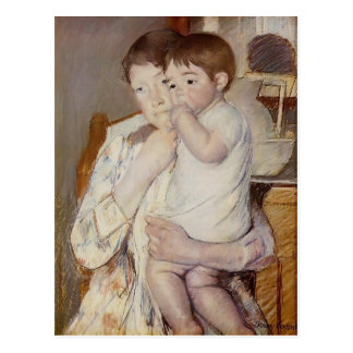 Mary Cassatt: Baby in His Mother`s arms Postcard