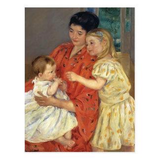 Mary Cassatt- Mother and Sara Admiring the Baby Postcard
