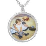 Mary Cassatt Playing on the Beach Necklace