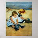 Mary Cassatt's Children on the Beach  (1884) Poster