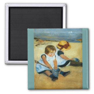 Mary Cassatt's Children on the Beach  (1884) Square Magnet