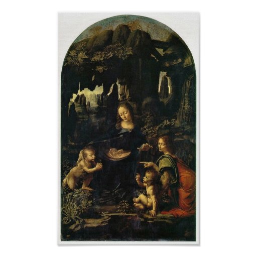 Mary, Christ child and angel by Leonardo da Vinci Poster
