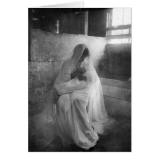 Mary holding Jesus in Stable Note Card