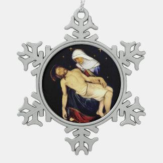 Mary Holding Jesus Snowflake Pewter Christmas Ornament