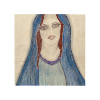 Mary In Blue Wood Wall Art