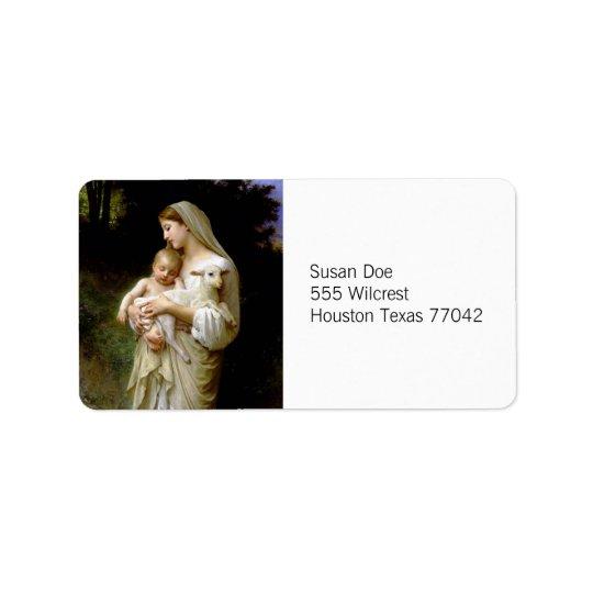 Mary, Jesus, & a Lamb Label Address Label