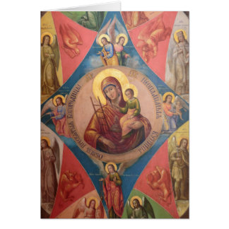 Mary, Jesus, And Angels Card