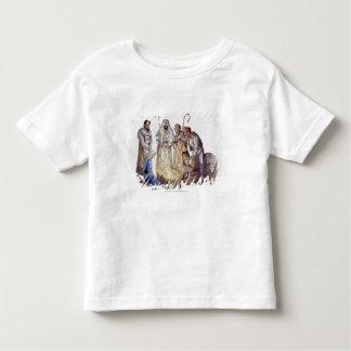 Mary, Joseph, and shepherds surrounding baby Jesus T Shirt