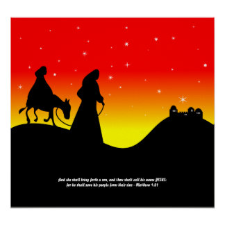 Mary & Joseph, Bible Scripture Verse Poster