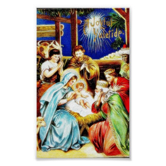 Mary, Joseph, shepards around the infant jesus on Poster