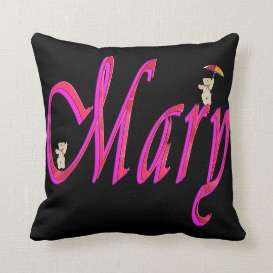 Mary, Name, Logo, Black Throw Cushion. Throw Pillow