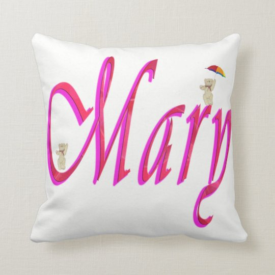 Mary, Name, Logo, White Throw Cushion. Cushion