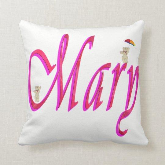 Mary, Name, Logo, White Throw Cushion. Throw Pillow