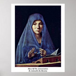 Mary Of The Annunciation By Antonello Da Messina Poster