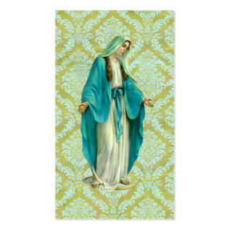 Mary On A Vintage Green and Blue Damask Pattern Business Card Template