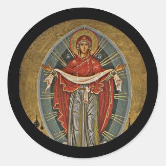Mary Protector Theotokos Round Sticker
