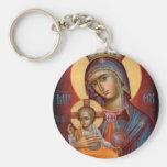 Mary - THEOTOKOS Basic Round Button Key Ring