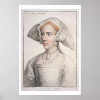 Mary Tudor (1516-58) engraved by Francesco Bartolo Poster