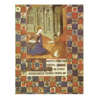 Mary visits her cousin Elizabeth, medieval Postcard