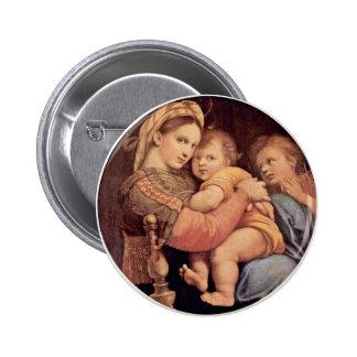 Mary With Christ Child And John The Baptist Tondo 6 Cm Round Badge