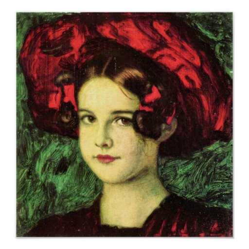 Mary with red hat by Franz von Stuck Print