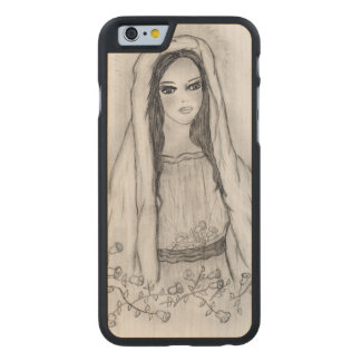 Mary with Roses Carved Maple iPhone 6 Case