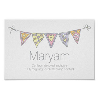 Maryam girls name and meaning bunting poster