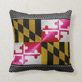 Maryland brushed metal flag throw pillow