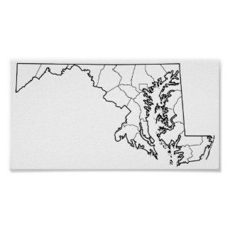 Maryland Counties Blank Outline Map Poster