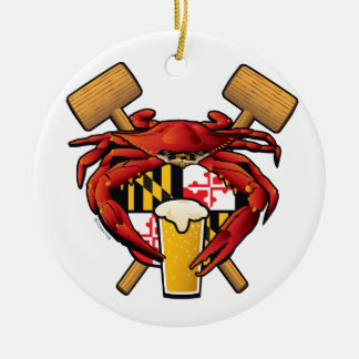 Maryland Crab Feast Crest Ceramic Ornament