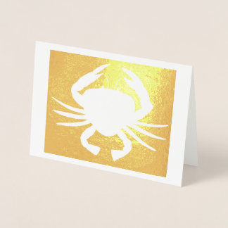 Maryland Crab Metallic Silhouette Beach Seafood Foil Card