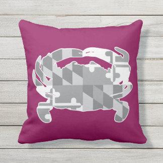 Maryland Flag/Crab greyscale pillow - raspberry
