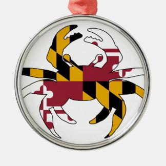 Maryland Flag Crab Metal Ornament