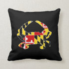 """Maryland Flag Crab Polyester Throw Pillow 16"""" x 16"""