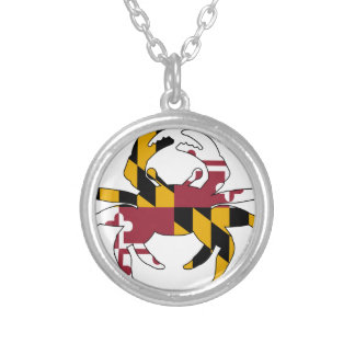 Maryland Flag Crab Silver Plated Necklace