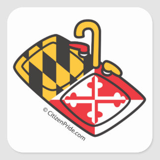 Maryland Flag Kitchen Sink Square Sticker