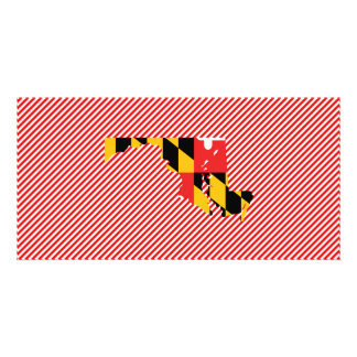 Maryland Flag Map Personalized Photo Card