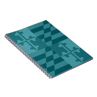 Maryland Flag Monochromatic note book - teal