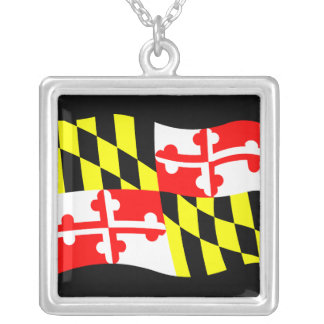 Maryland Flag Silver Plated Necklace