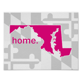 Maryland Flag/State pop of color - hot pink Poster