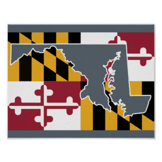 Maryland Flag/State poster - grey