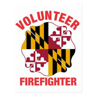 Maryland Flag Volunteer Firefighter Cross Post Card